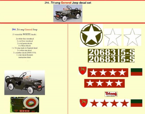 294 Tri-ang General Jeep decal set